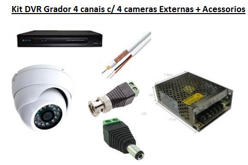 KIT DE SEGURANÇA GRAVADOR 4 CANAIS + 4 CAMERA DOME INFRA AHD-M 720p SEM HD - JS Soluções em Segurança
