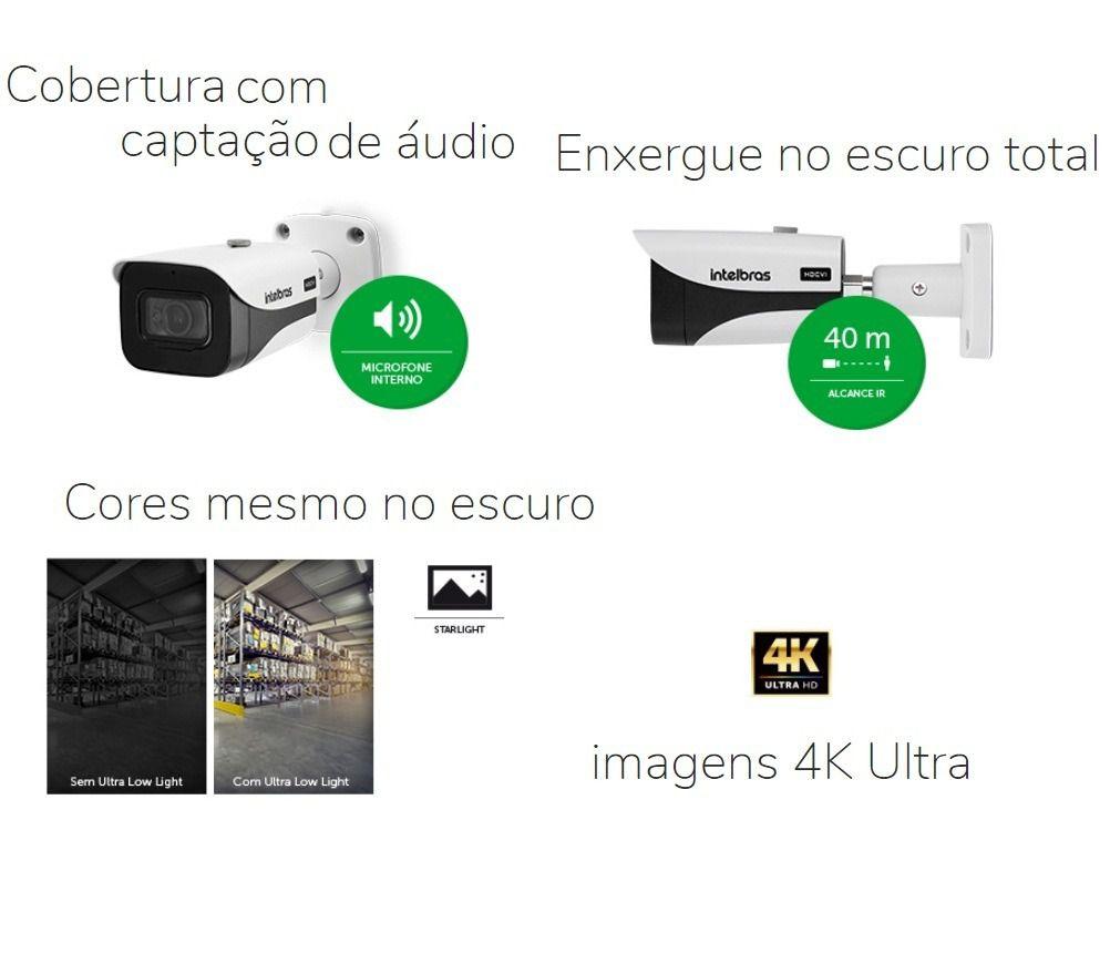 Câmera Bullet infra intelbras 8 megapixels 2160p c/ áudio/ HLC/ BLC e WDR  40mts WDR VHD 5840 B 4k Starlight