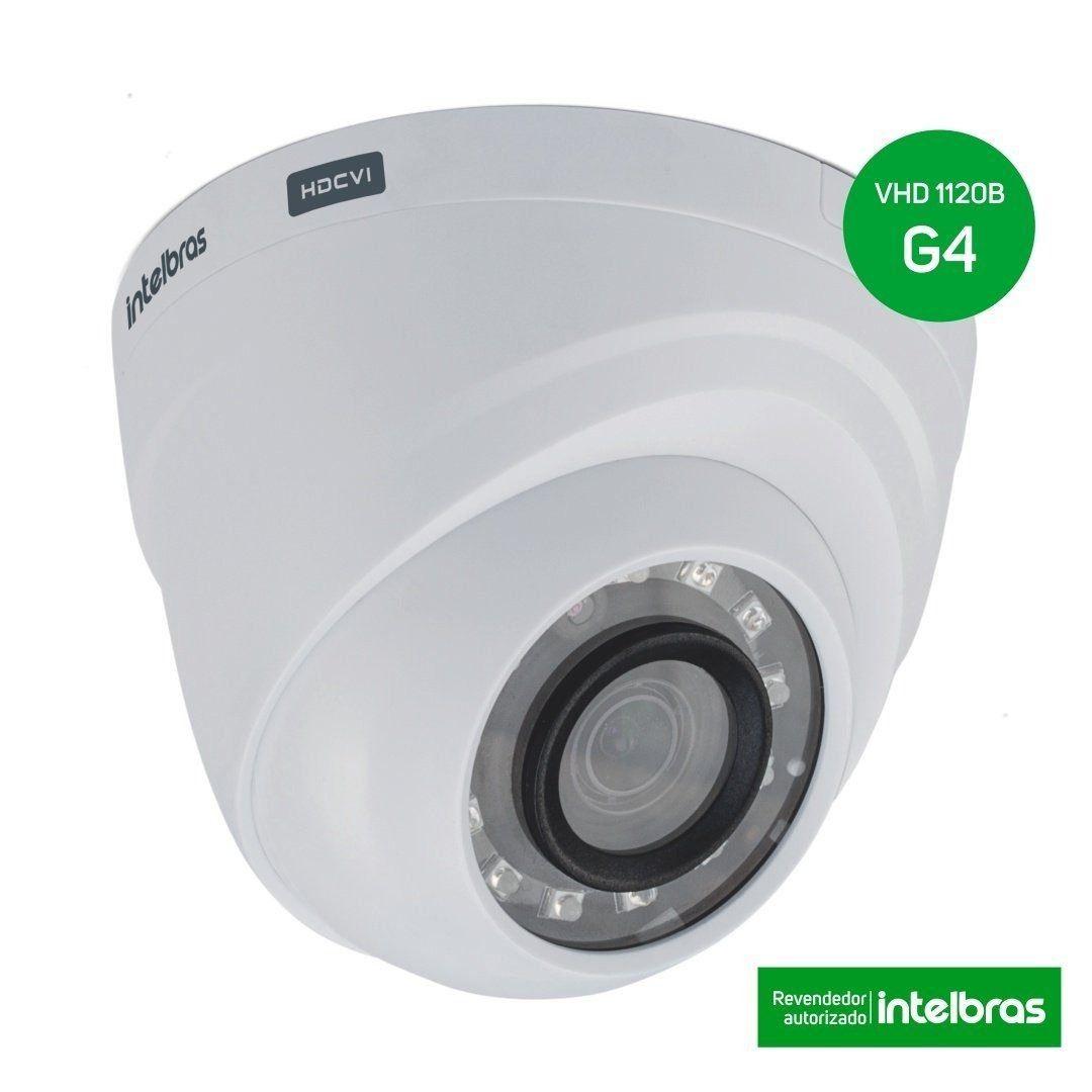 Câmera Infra dome Multi-HD HDCVI, HDTVI, AHD e Analógica Intelbras 2.6mm 720p - VHD 1120D G4 - JS Soluções em Segurança