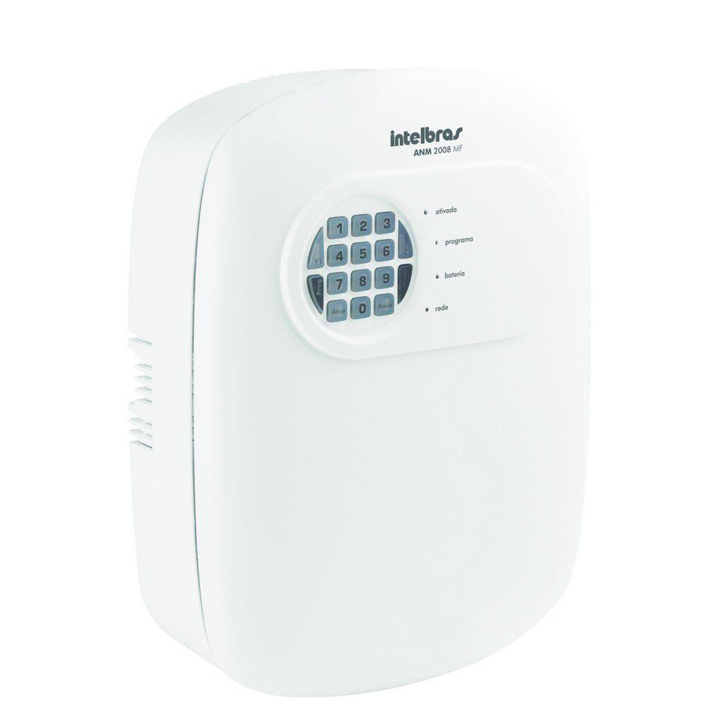 Central Alarme Intelbras discadora para 6 números 8 zonas mista + 1 controle 433,92 MHz ANM 2008 MF - JS Soluções em Segurança