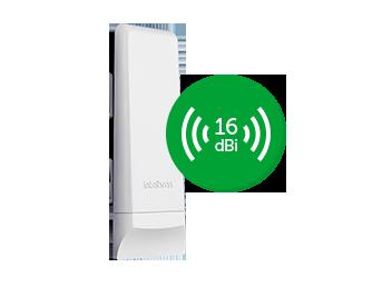CPE 5 GHz com antena de 16 dBi MiMo 2x2 WOM 5A MiMo 4km - JS Soluções em Segurança