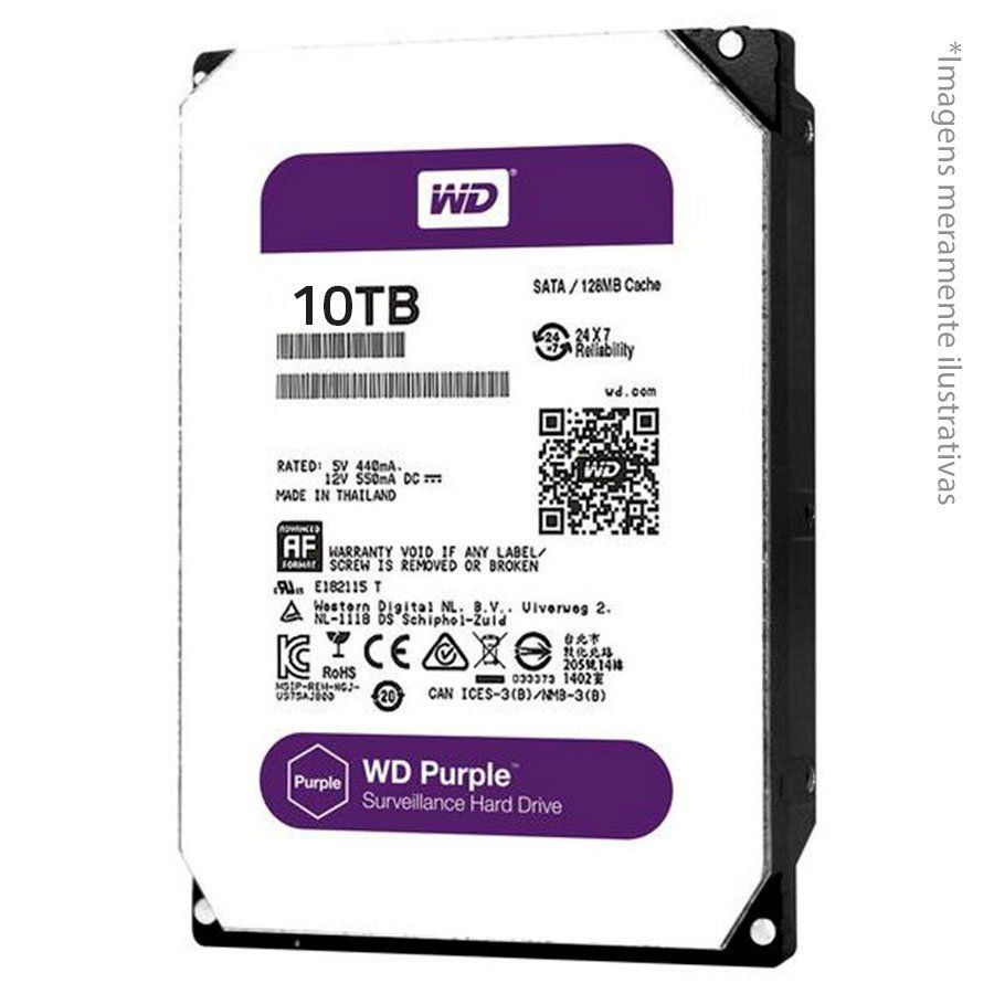 HD Interno WD Purple 10TB Surveillance para CFTV SATA III 6GB/s 5400 RPM WD100PURZ - JS Soluções em Segurança