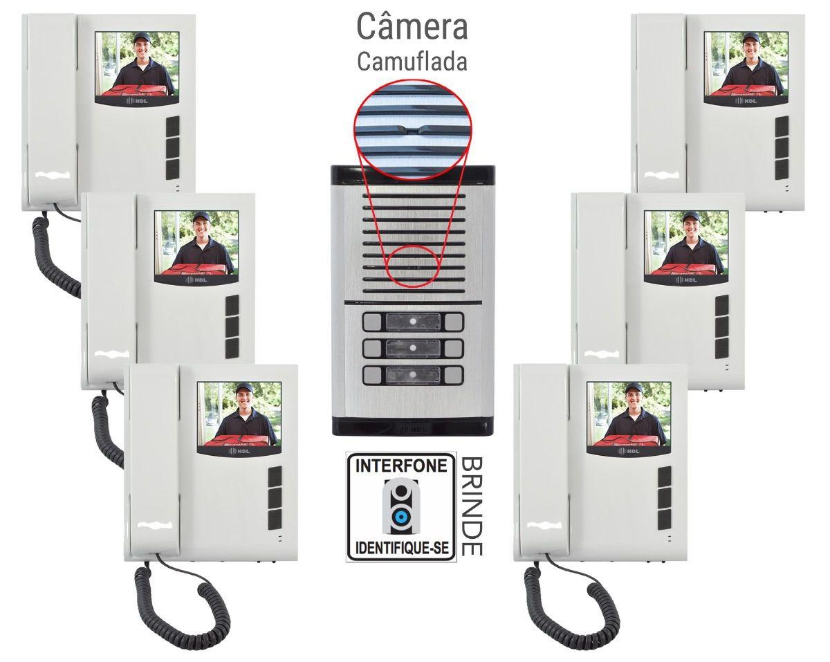 Kit Vídeo Porteiro eletrônico coletivo HDL para 6 Pontos com monitores - JS Soluções em Segurança