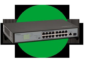 Switch 16 Portas Fast PoE intelbras SF 1811 PoE  | COM 1 PORTA GIGABIT + 1 PORTA SFP  - JS Soluções em Segurança