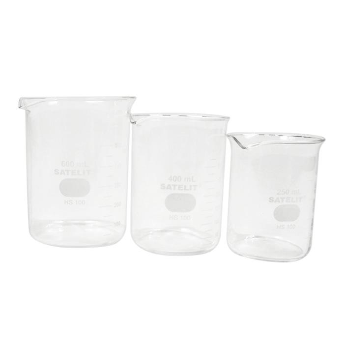 Compre 3 Copos Beckers (Griffin) em Vidro Forma Baixa 50, 100 e 150mL