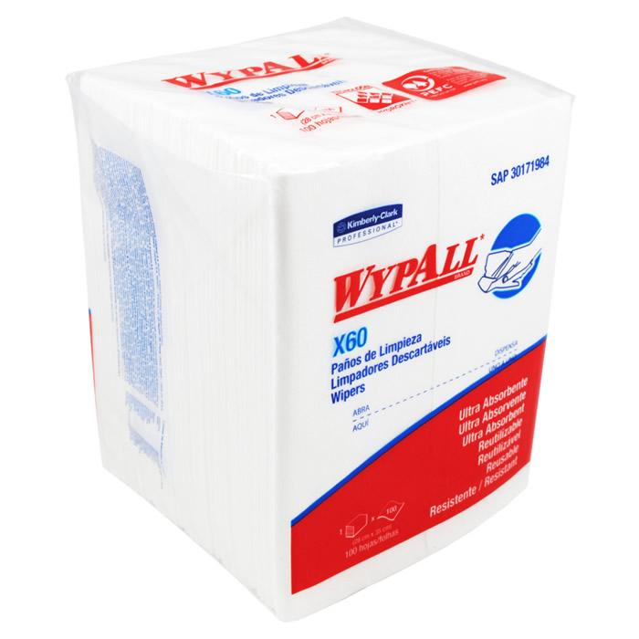Wiper Wypall X60 Quartfold (28x35cm) Pacote com 100 panos