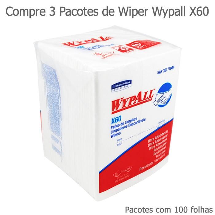 Compre 3 Pacotes de Wiper Wypall X60 - Pacotes com 100 panos