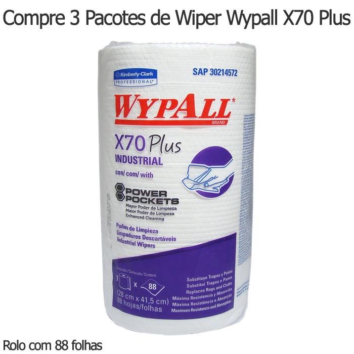 Compre 3 Pacotes de Wiper Wypall X70 Plus - Rolo com 88 panos