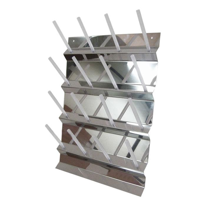 Escorredor Vertical Fixo de Parede em Aço Inox 304 com 16 Pinos em Polipropileno