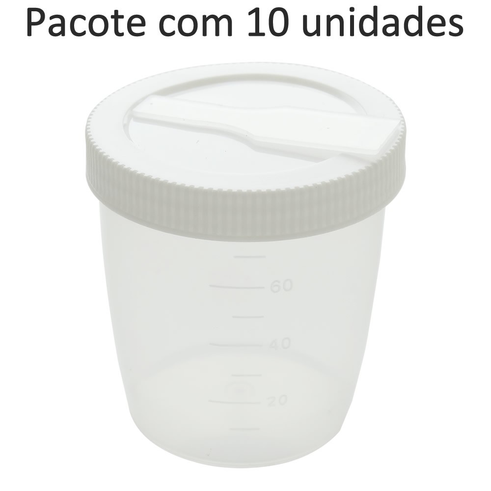 Frasco (Pote) Coletor de Amostras Translucido com Pá 80mL - Pacote com 10 unidades