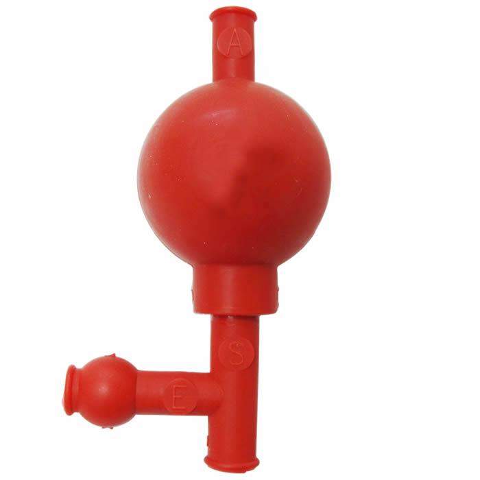 Pipetador em Borracha 3 vias Tipo Pera com Esfera em Vidro