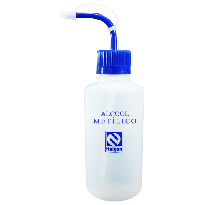 Pisseta em Polietileno 500mL para Álcool Metílico