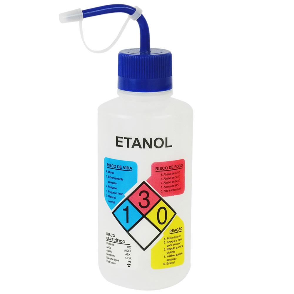 Pisseta em Polietileno 500mL para Etanol Com Classifica��o de Risco