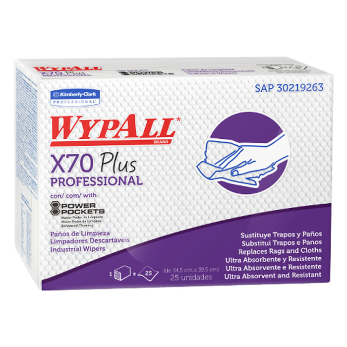 Wiper Wypall X70 Plus (39,5x58,5cm) Pacote com 25 panos