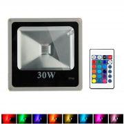 Refletor - Holofote Led RGB 30W - Controle Grátis 16 Cores - RPC-COMMERCE