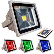 Refletor - Holofote Led RGB 20W - Controle Gr�tis 16 Cores - RPC-COMMERCE