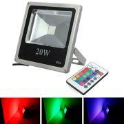 Refletor - Holofote Led RGB 20W - Controle Grátis 16 Cores - RPC-COMMERCE