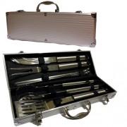 Kit Churrasco com Maleta em alumínio - 10 Peças de inox - RPC-COMMERCE