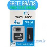 Pen Drive 4GB Multilaser Mc057 - 3 em 1: Micro Sd 4gb + Adaptador + Leitor Usb (Frete Gr�tis)