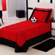 Cobre Leito Futebol Solteiro na cor Vermelho com 04 pe�as em Microfibra - Cobre Leito Futebol - Casa Sua Beleza