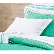 Almofada de Cama e Quarto Avulsa Branco e Verde Percal 200 fios - Almofada de Cama e Quarto Bloom