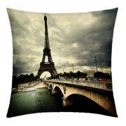 Almofada Desenhada Decora��o Paris Torre Eiffel com 2 pe�as tecido Microfibra - Almofada Digital
