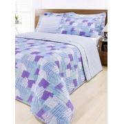 Cobre Leito Casal Azul, Lilas e Branco em Algod�o Percal 200 fios com 03 pe�as - Vers�til - Casa Sua Beleza