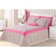 Cobre Leito  Casal Box Floral e Pink em Tricoline 60% Algod�o e 40% Poliester com 7 pe�as - Cobre Leito  Galeata - Casa Sua Beleza
