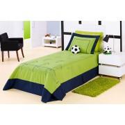 Cobre Leito Futebol Solteiro na cor Verde com 04 pe�as em Microfibra - Cobre Leito Futebol - Casa Sua Beleza