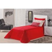 Cobre Leito Solteiro Vermelho em Algod�o 150 fios com 4 pe�as - Cobre Leito Bellegra - Casa Sua Beleza
