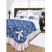 Colcha de Cama Casal Doce Lar Azul em Algod�o 150 fios com 07 pe�as - Casa Sua Beleza