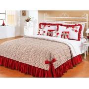 Colcha de Cama Casal Doce Lar Vermelho em Algod�o 150 fios com 07 pe�as - Casa Sua Beleza