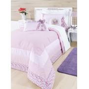 Colcha Drica para Menina na cor Rosa com 06 pe�as e em tecido Percal 200 fios - Solteiro - Casa Sua Beleza