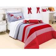 Colcha Vermelha Janine para Menina em Algod�o com 04 pe�as - Solteiro - Casa Sua Beleza