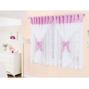Cortina de Quarto Janine  2 metros cor Rosa com Branca - Casa Sua Beleza