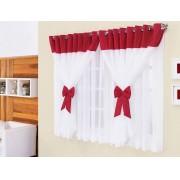 Cortina de Quarto Janine  2 metros cor Vermelho com Branca - Casa Sua Beleza