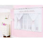 Cortina de Quarto para Menina Loren  2 metros cor Branca para Var�o Duplo - Casa Sua Beleza