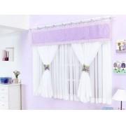 Cortina de Quarto para Menina Melphi 2 metros cor Lilas com Branco para Var�o Duplo - Casa Sua Beleza