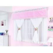 Cortina de Quarto para Menina Melphi 2 metros cor Rosa com Branco para Var�o Duplo - Casa Sua Beleza