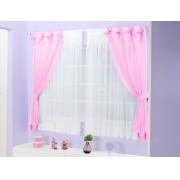 Cortina de Quarto para Menina Mirela  2 metros cor Rosa com Branca - Casa Sua Beleza