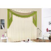 Cortina de Sala ou Quarto 3 metros Palha / Verde com 1 pe�as tecido Malha - Cortina Istambul