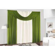 Cortina de Sala ou Quarto 3 metros Plaha / Verde com 1 pe�as tecido Malha - Cristal
