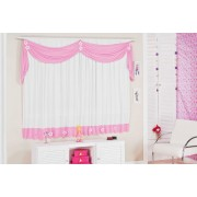 Cortina Rosa e Branco para Quarto de Menina com 02 metros para Var�o Simples - Cortina Margarida - Casa Sua Beleza