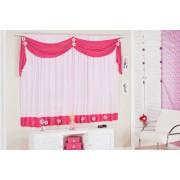 Cortina Rosa e Pink  para Quarto de Menina com 02 metros para Var�o Simples - Cortina Margarida - Casa Sua Beleza