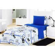 Edredom Solteiro Futebol Azul em tecido Algod�o com Poliester - Edredom Kids - Casa Sua Beleza