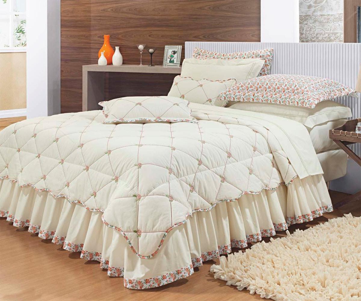 Colcha de cama queen palha percal 200 fios com 7 pe as - Colchas para camas de 150 ...