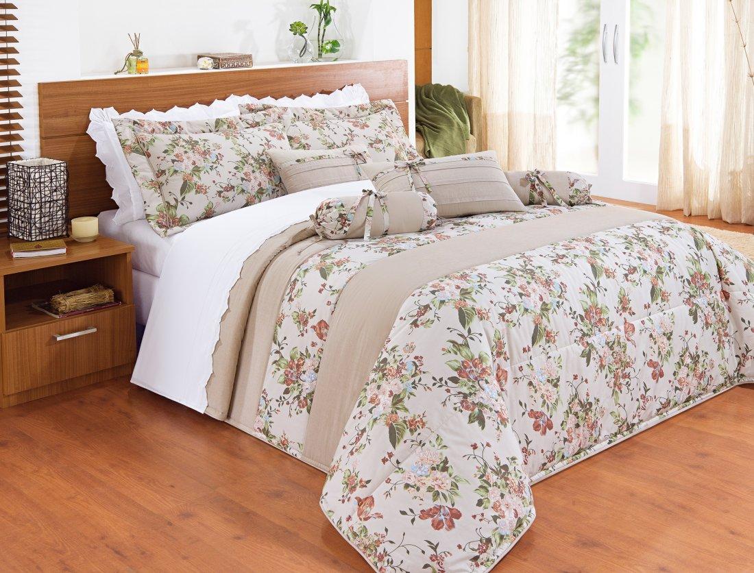 Colcha para cama king percal 200 fios com 11 pe as kit for Colchas para camas grandes