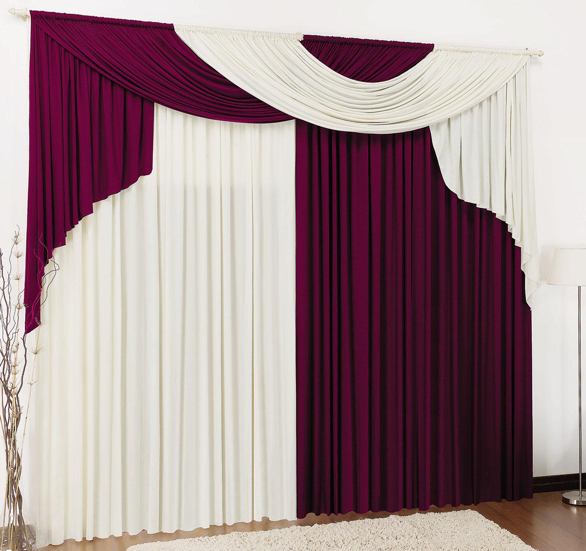 Cortina 3 metros Elegancy Vinho com 1 peças  Casa Sua Beleza