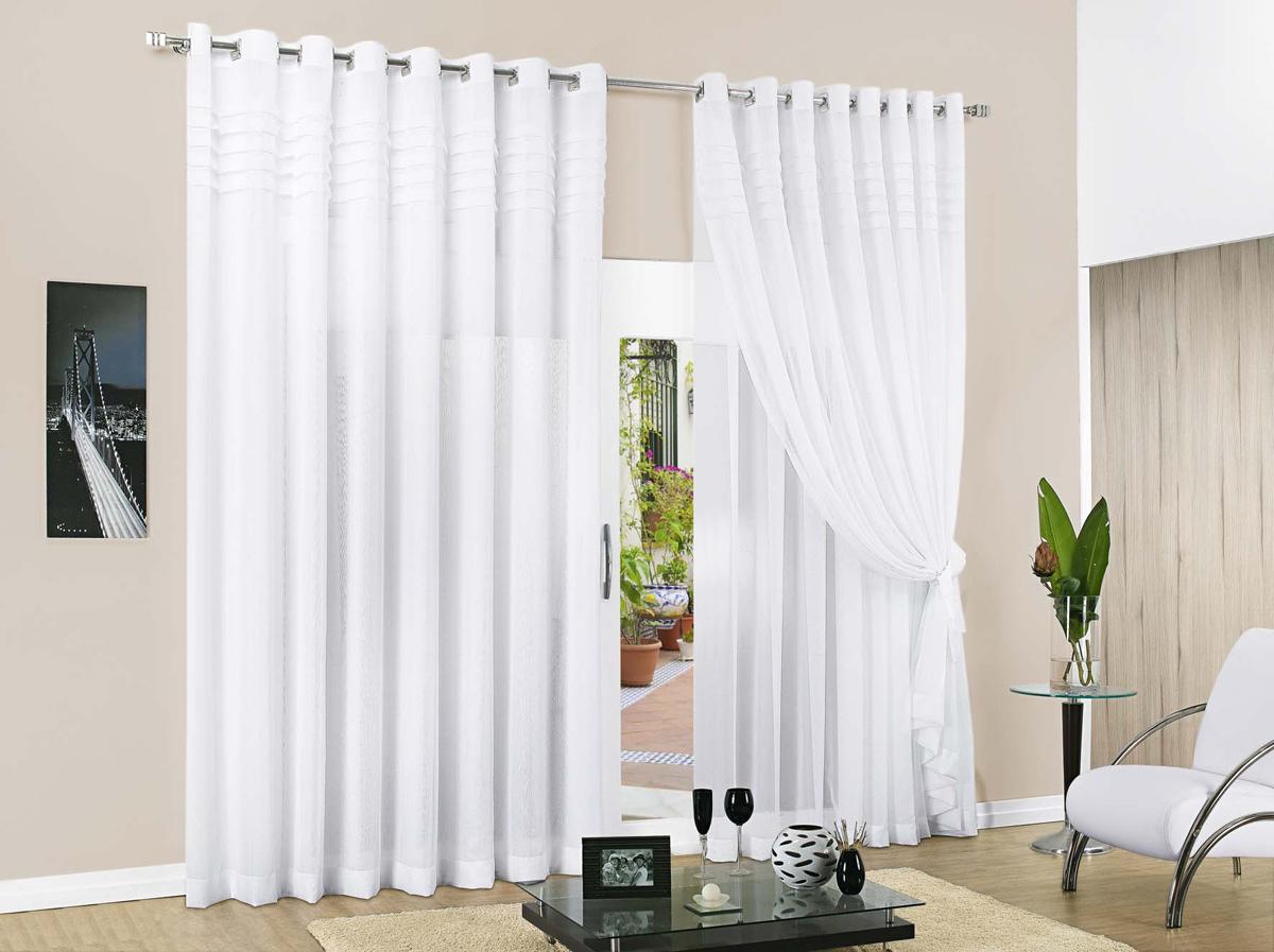 Cortina de sala branca com 03 metros em poliester for Ver modelos de cortinas