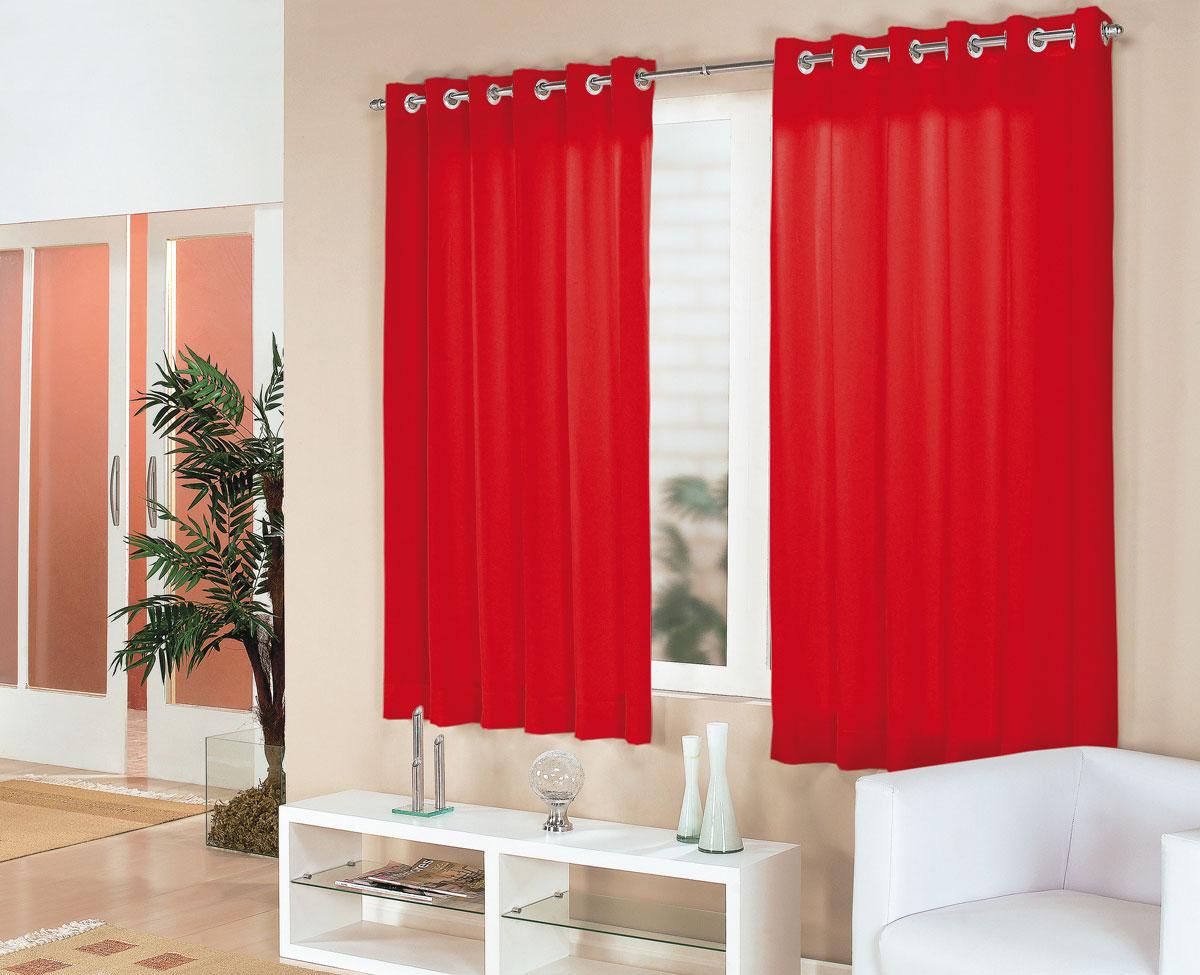 Cortina sala e quarto vermelho tecido cortelano algodao e for Cortinas para sala